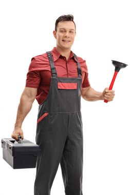 Plumber with a plunger and a toolbox