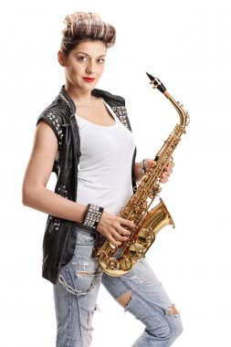 Female street performer with a saxophone