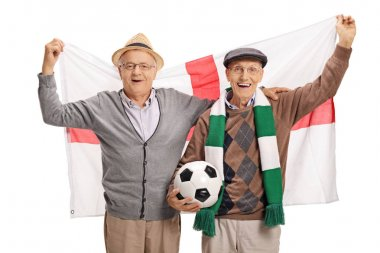 elderly soccer fans with an English flag