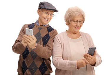 Elderly man looking at the phone of his wife