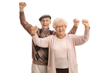Joyful mature couple gesturing happiness