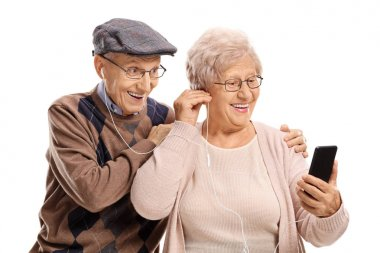 Couple listening to music on a phone together