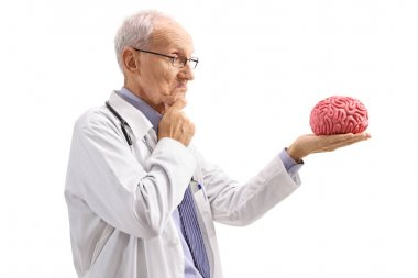 Pensive doctor looking at a brain model