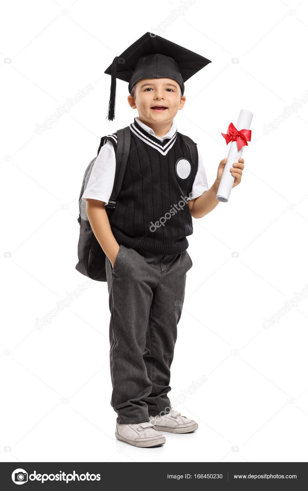 Schüler Mit Einem Abschluss Hut Und Ein Diplom Stockfoto