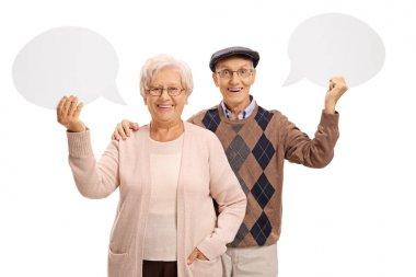 Seniors with speech bubbles