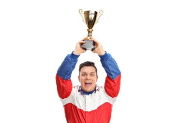 car racing champion holding a gold trophy