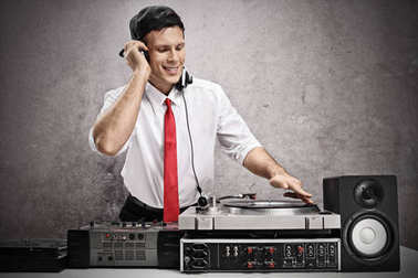 man playing music on a turntable