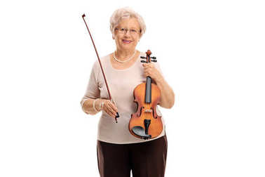 Mature woman with a wand and a violin
