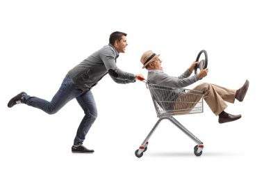 man pushing a shopping cart with a mature man