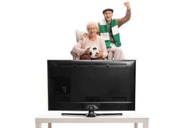 Excited soccer fans watching television