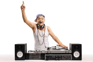 Cheerful DJ playing music on a turntable