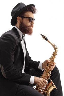 Jazz musician with a saxophone