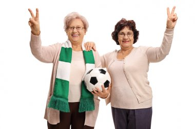 Elderly soccer fans making victory gestures isolated on white background