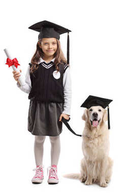 Full length portrait of a schoolgirl with a diploma and a graduation hat with a labrador retriever dog isolated on white background