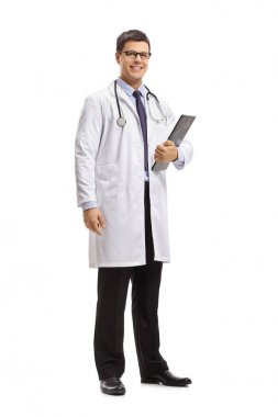 Full length portrait of a doctor with a clipboard isolated on white background