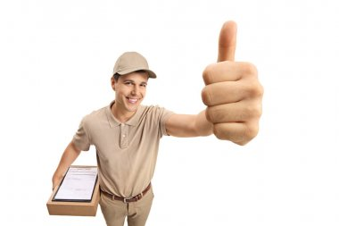 Delivery man making a thumb up gesture isolated on white background