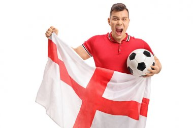 Excited soccer fan holding a football and an English flag isolated on white background