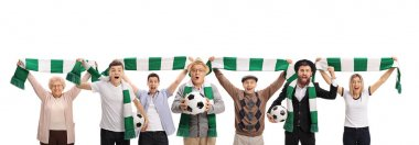 Excited soccer fans with scarfs and footballs isolated on white background