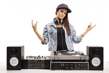 Female DJ making rock hand gestures isolated on white background