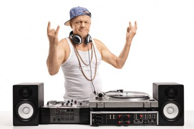 Old DJ making rock hand gestures isolated on white background