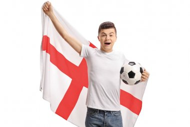 Excited teenage soccer fan with an English flag and a football isolated on white background
