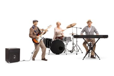 Senior people in a music band playing drums, keyboard and a guit