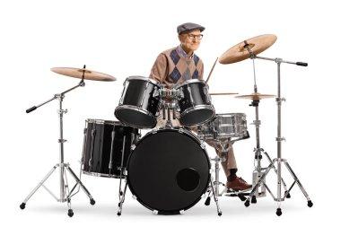 Elderly man playing drums