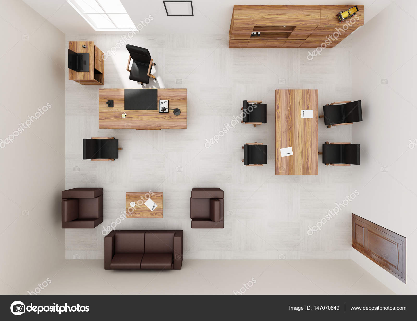 Office furniture top view - Vip Office Furniture Top View 3d Rendering Stock Photo 147070849
