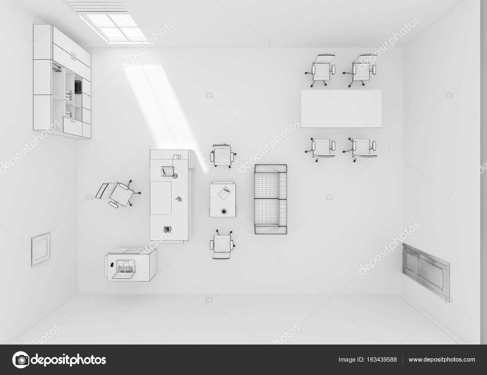 Vista superiore di vip ufficio mobili rendering 3d griglia for Mobili ufficio stock