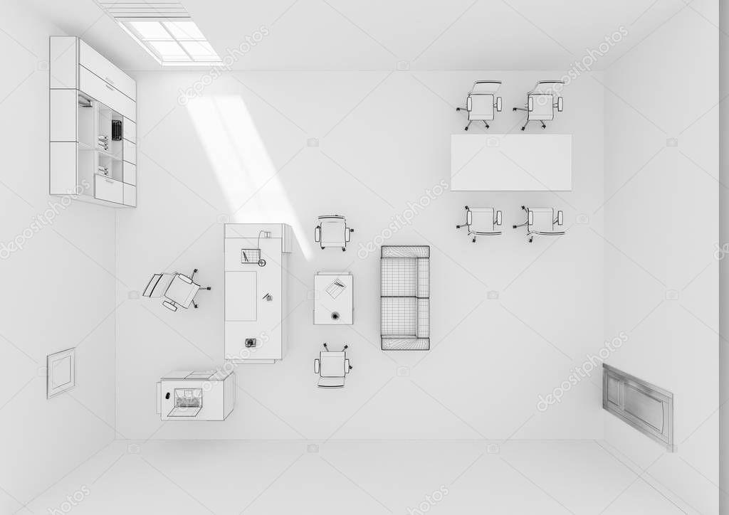 Vista superiore di vip ufficio mobili rendering 3d griglia for Stock mobili ufficio