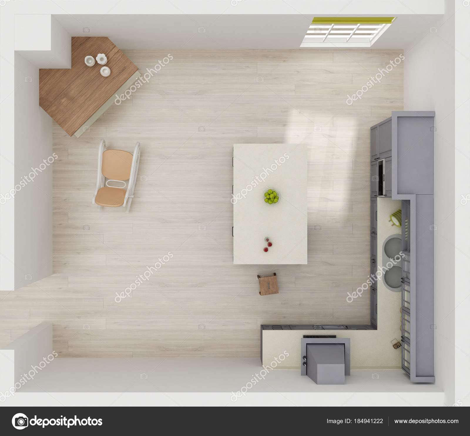 Kitchen Interior Rendering Top View Stock Photo C Ramilaliyev79