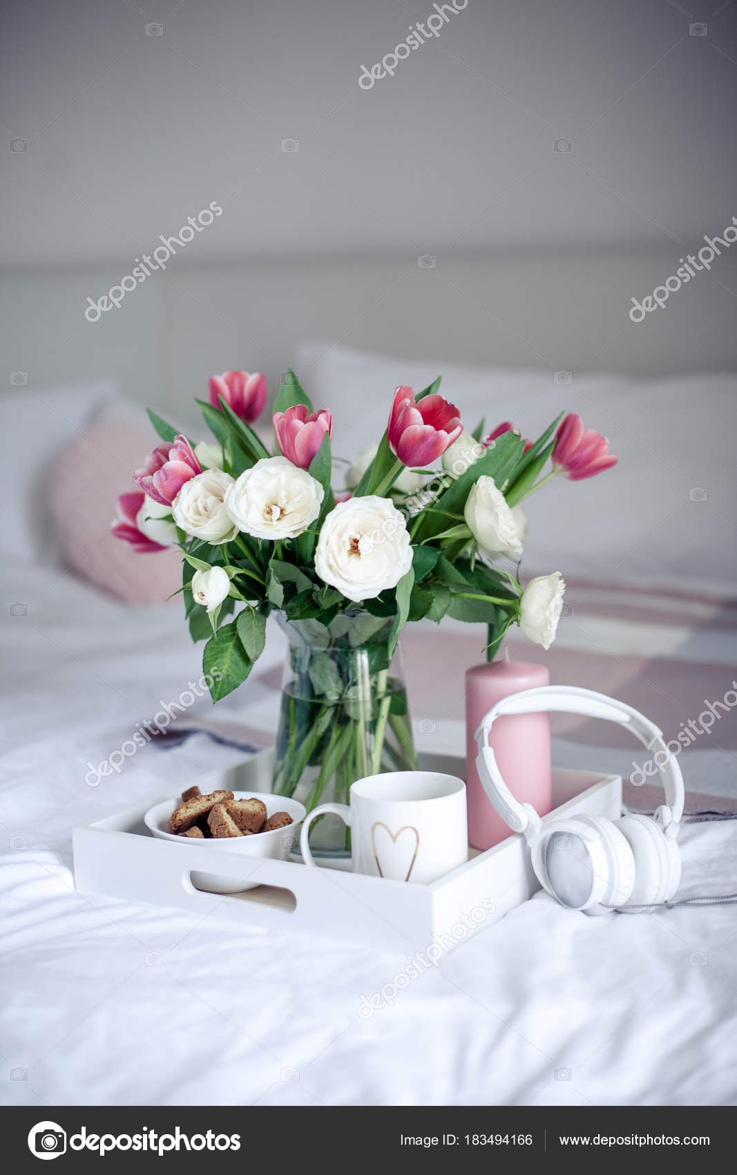 Romantic breakfast in bed bouquet of flowers roses and tulips romantic breakfast in bed bouquet of flowers roses and tulips spring valentines izmirmasajfo Choice Image