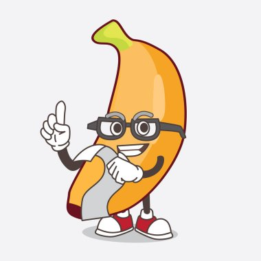 An illustration of Banana Fruit cartoon mascot character holding a menu