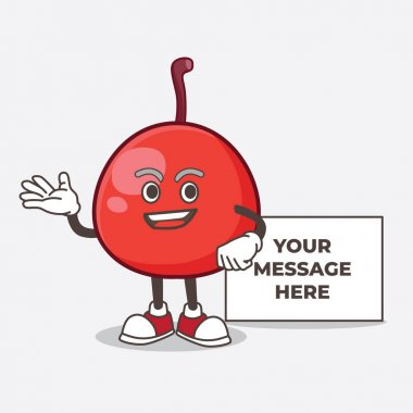 A picture of Red Berry cartoon mascot character with whiteboard