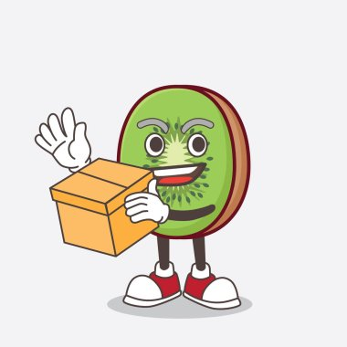 A picture of Kiwi Fruit cartoon mascot character holding a box