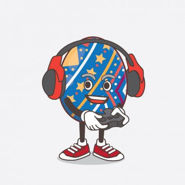 An illustration of Easter Egg cartoon mascot character play a game with headphone and controller