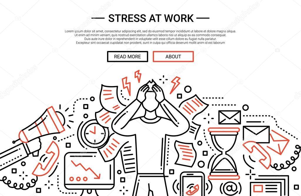 Stress At Work Line Flat Design Website Banner Stock Vector C Boyko Pictures 127933506