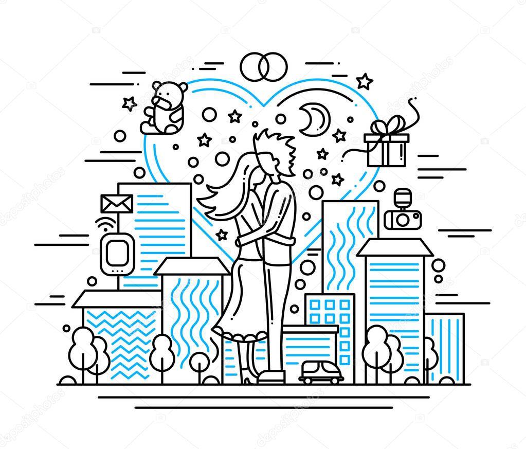 Propuesta de matrimonio - ilustración de diseño de línea — Archivo ...