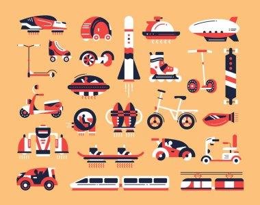 Transport - flat design icons set