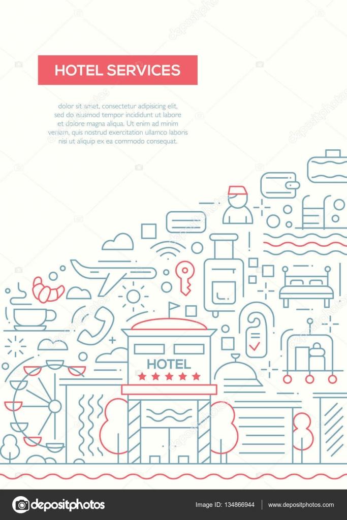 Hotel-Dienstleistungen - line Design Broschüre Plakat-Vorlage A4 ...