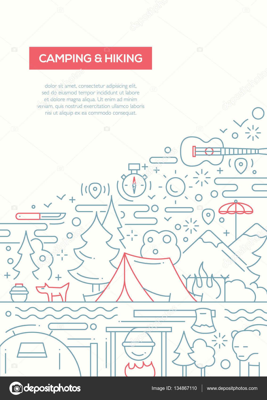 Camping y senderismo - plantilla de línea diseño folleto cartel A4 ...