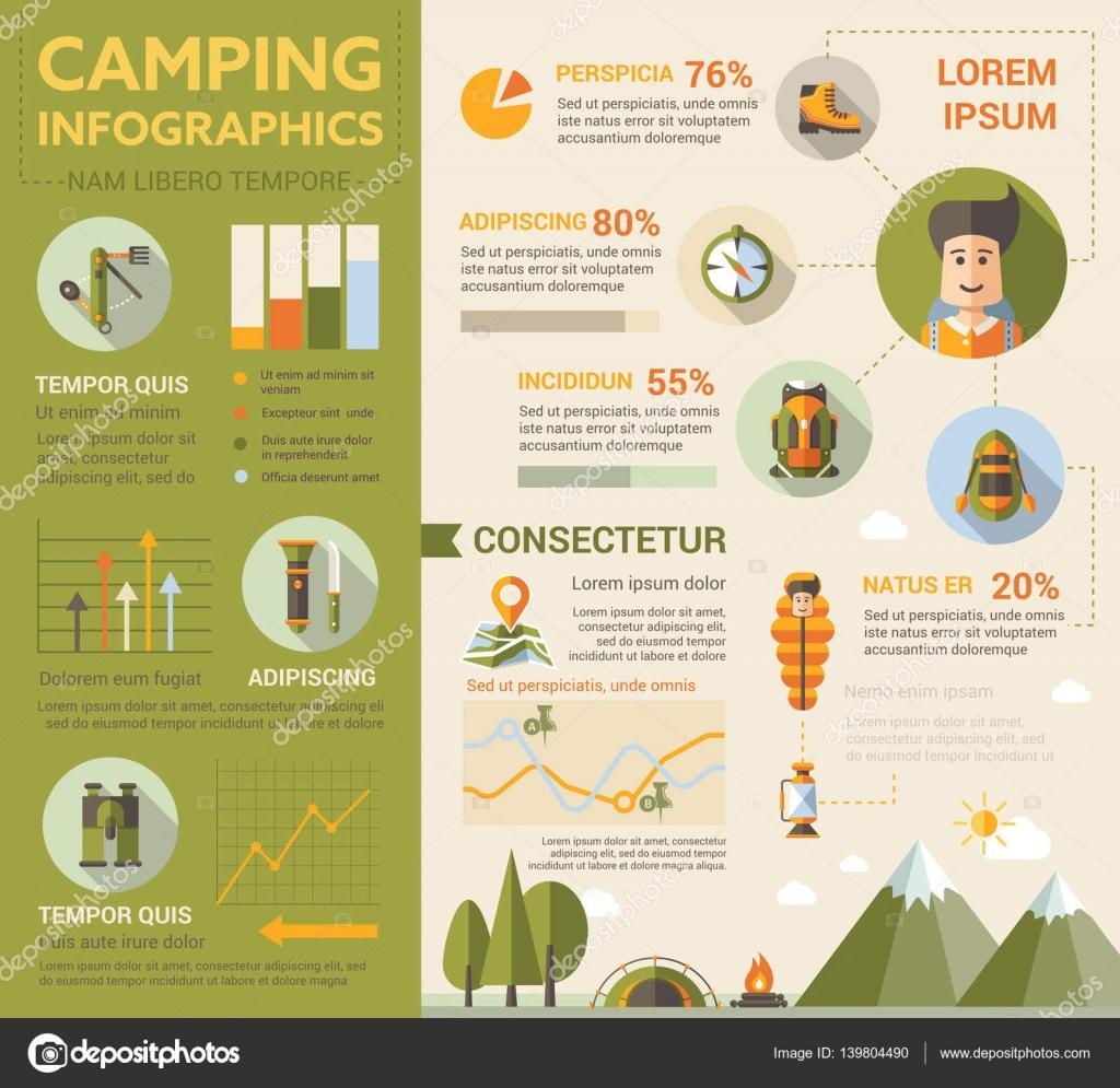 Camping - afiche, plantilla de la cubierta del folleto — Archivo ...