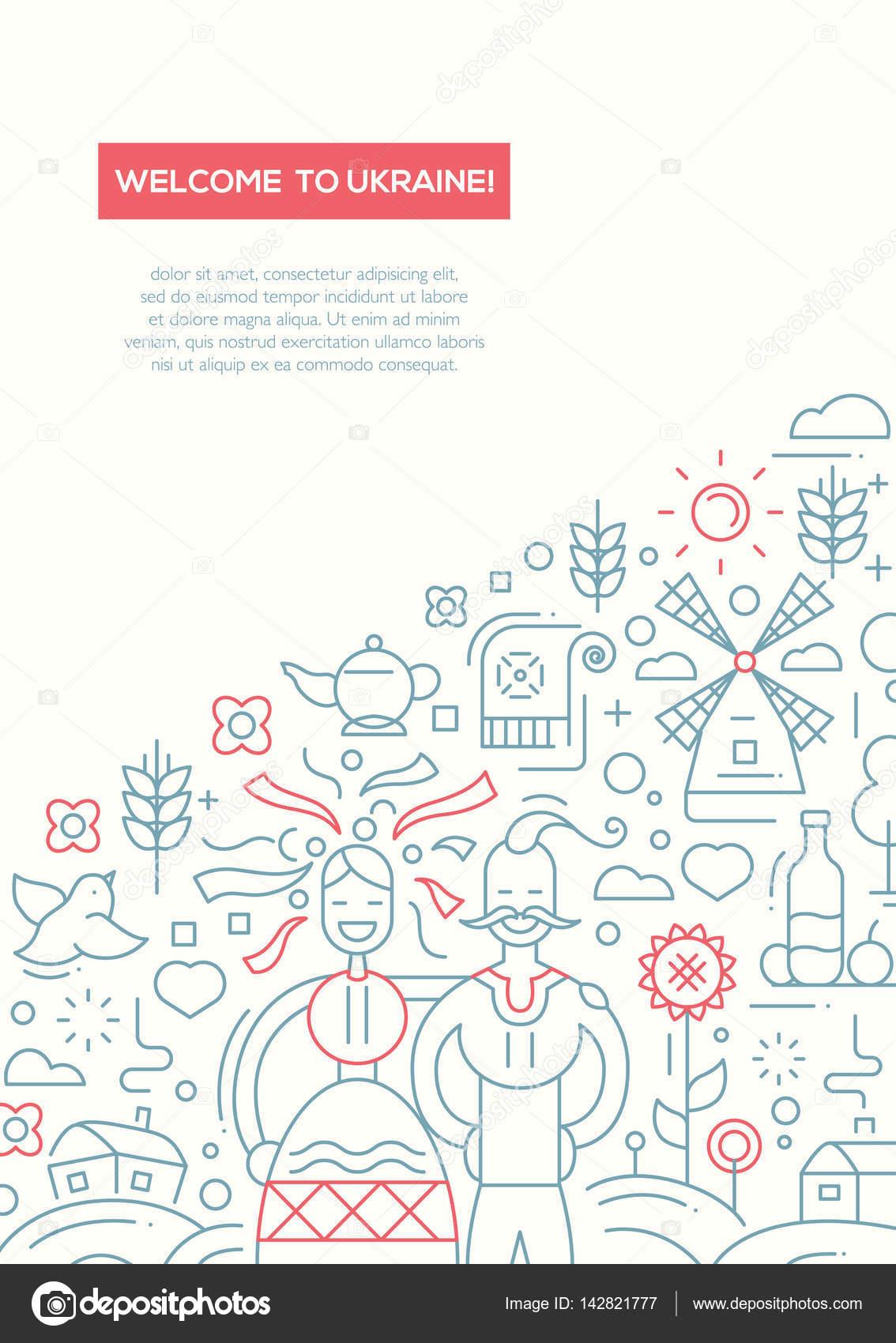 Vítejte na Ukrajině line design brožura plakát šablony A4 ...