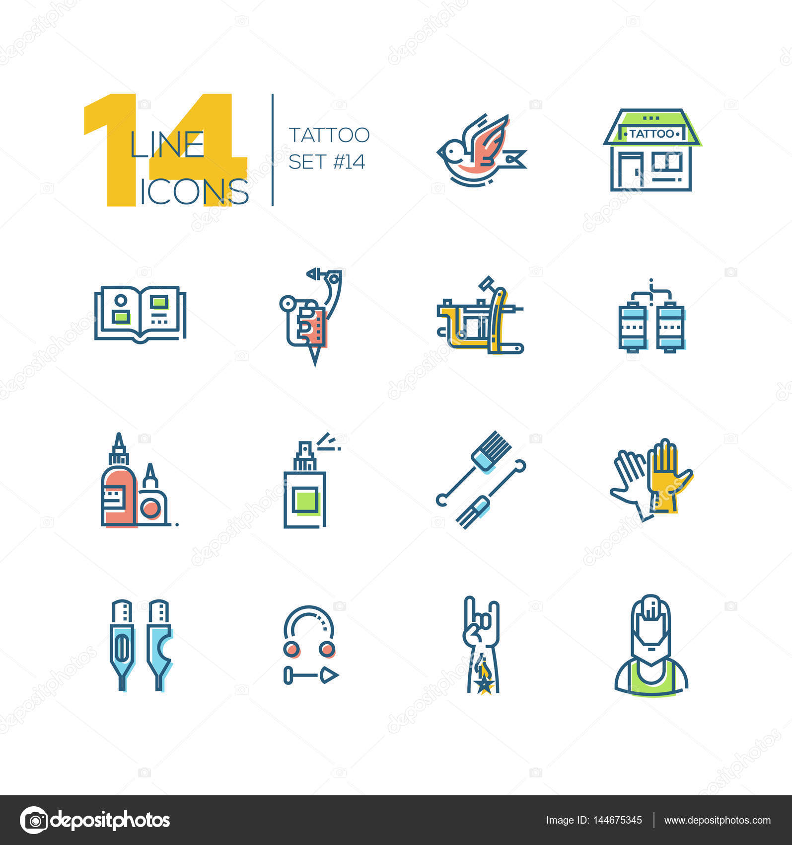 Tattoo Studio Thick Line Icons Set Stock Vector Decorwithme Tattoomachinediagramjpg Modern Design With Accent Color Bird Storefront Sample Book Machine Coils Ink Spray Needles Gloves