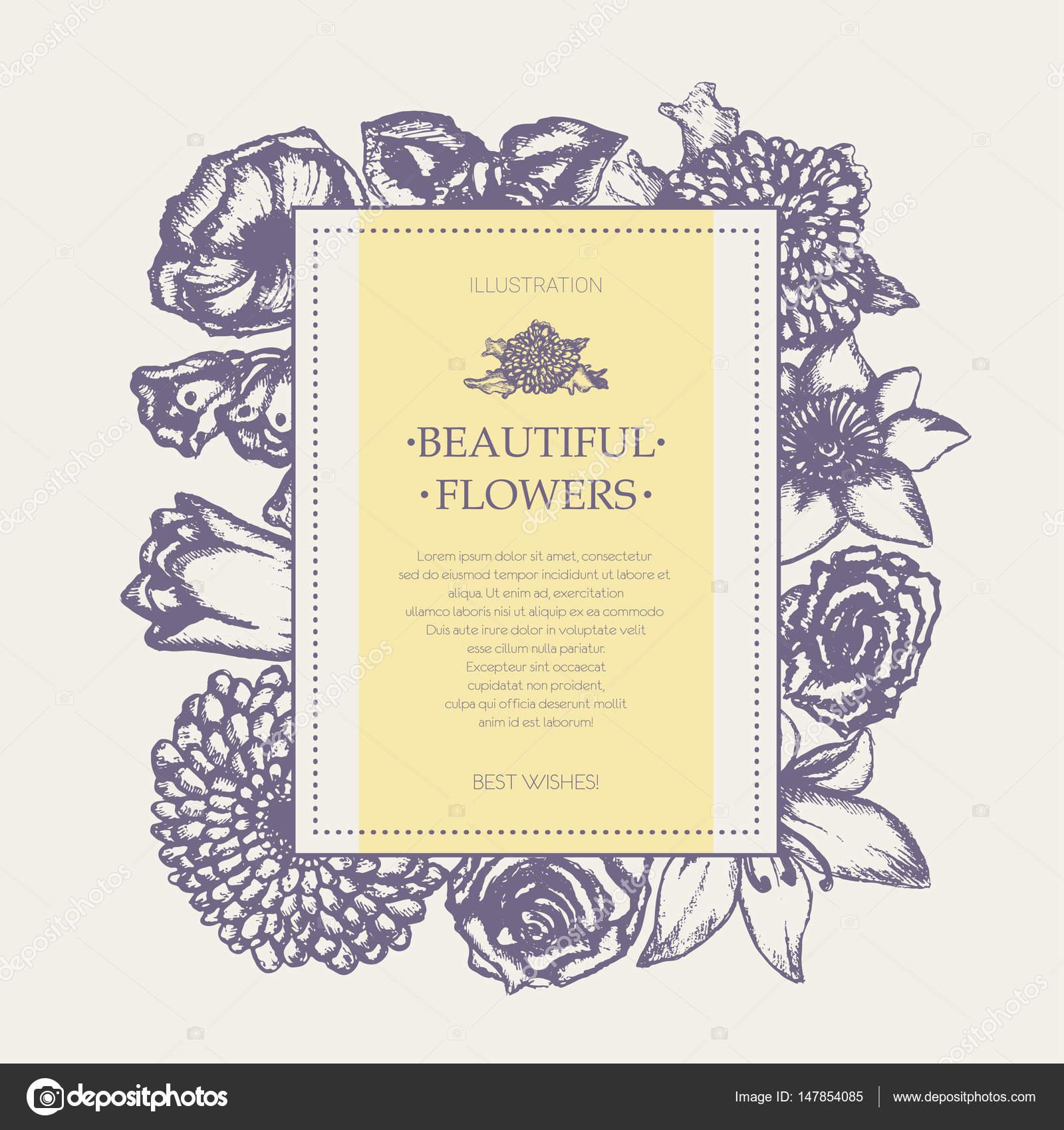 Beautiful Flowers Monochromatic Hand Drawn Square Banner Stock