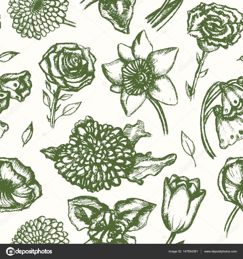 Beautiful Flowers Monochromatic Hand Drawn Seamless Pattern