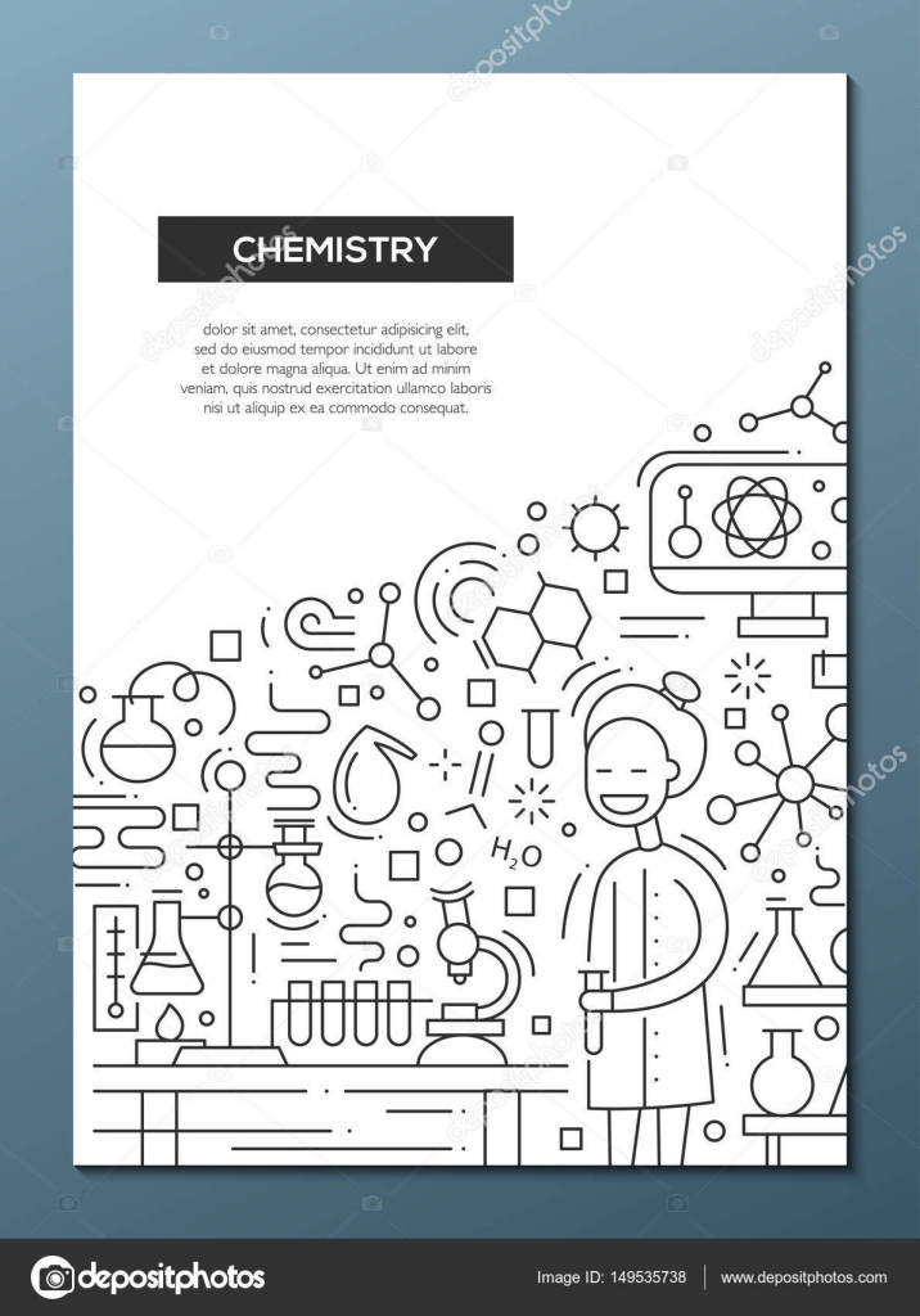 Chemie - Linie Entwurfsvorlage Broschüre Plakat-A4 — Stockvektor ...