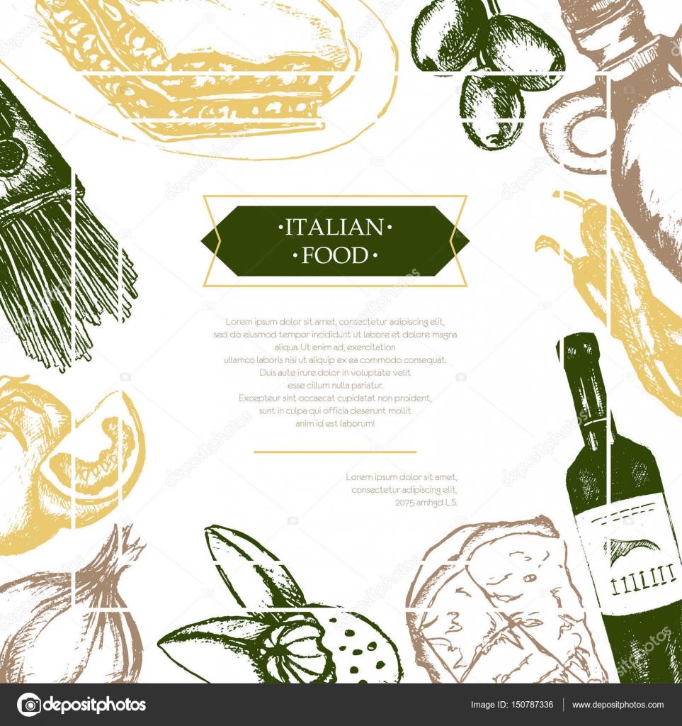 Italienische Küche - Farbe Hand gezeichnete zusammengesetzte flyer ...