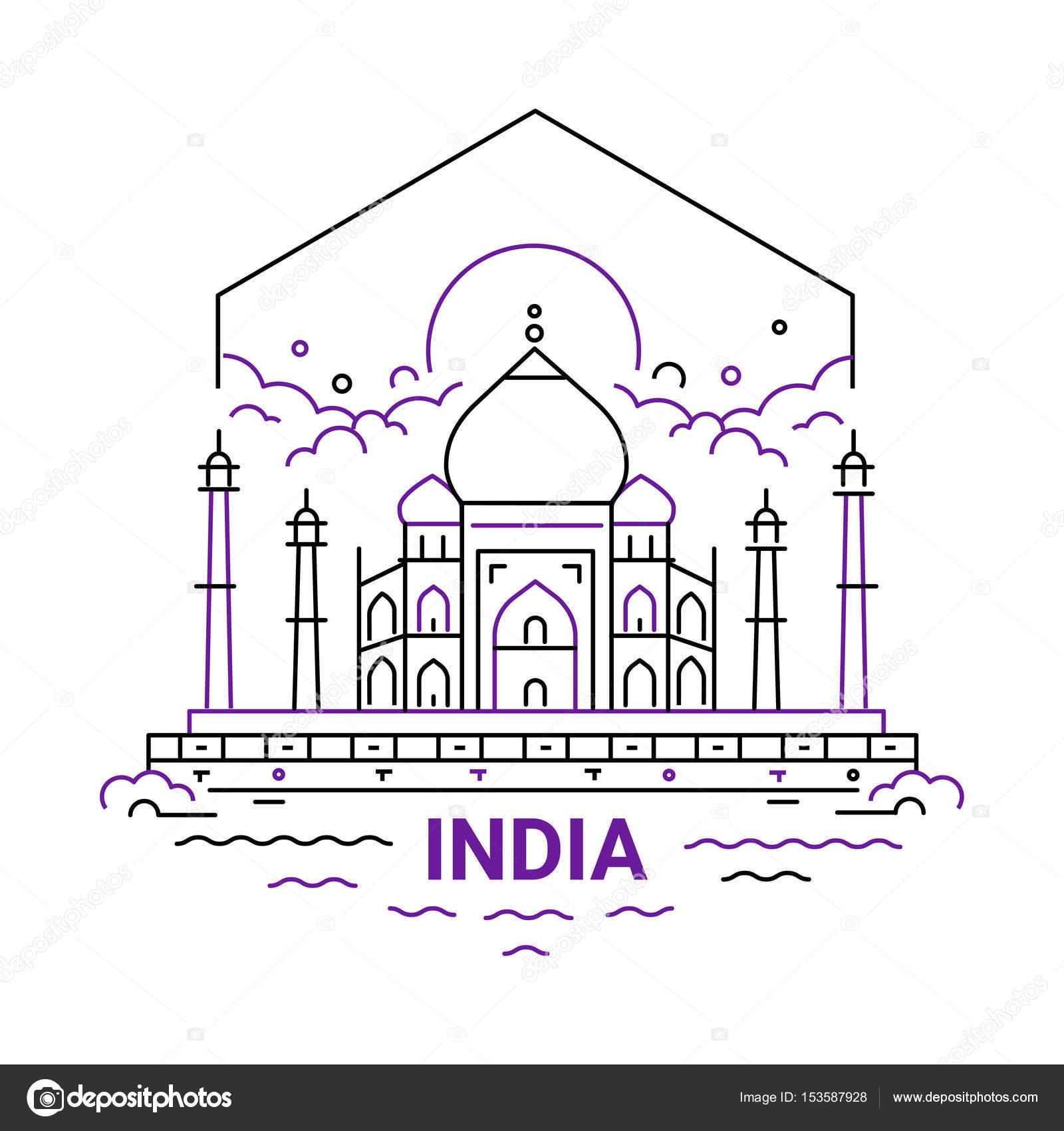 India - ilustración de vector moderno línea viaje — Vector de stock ...