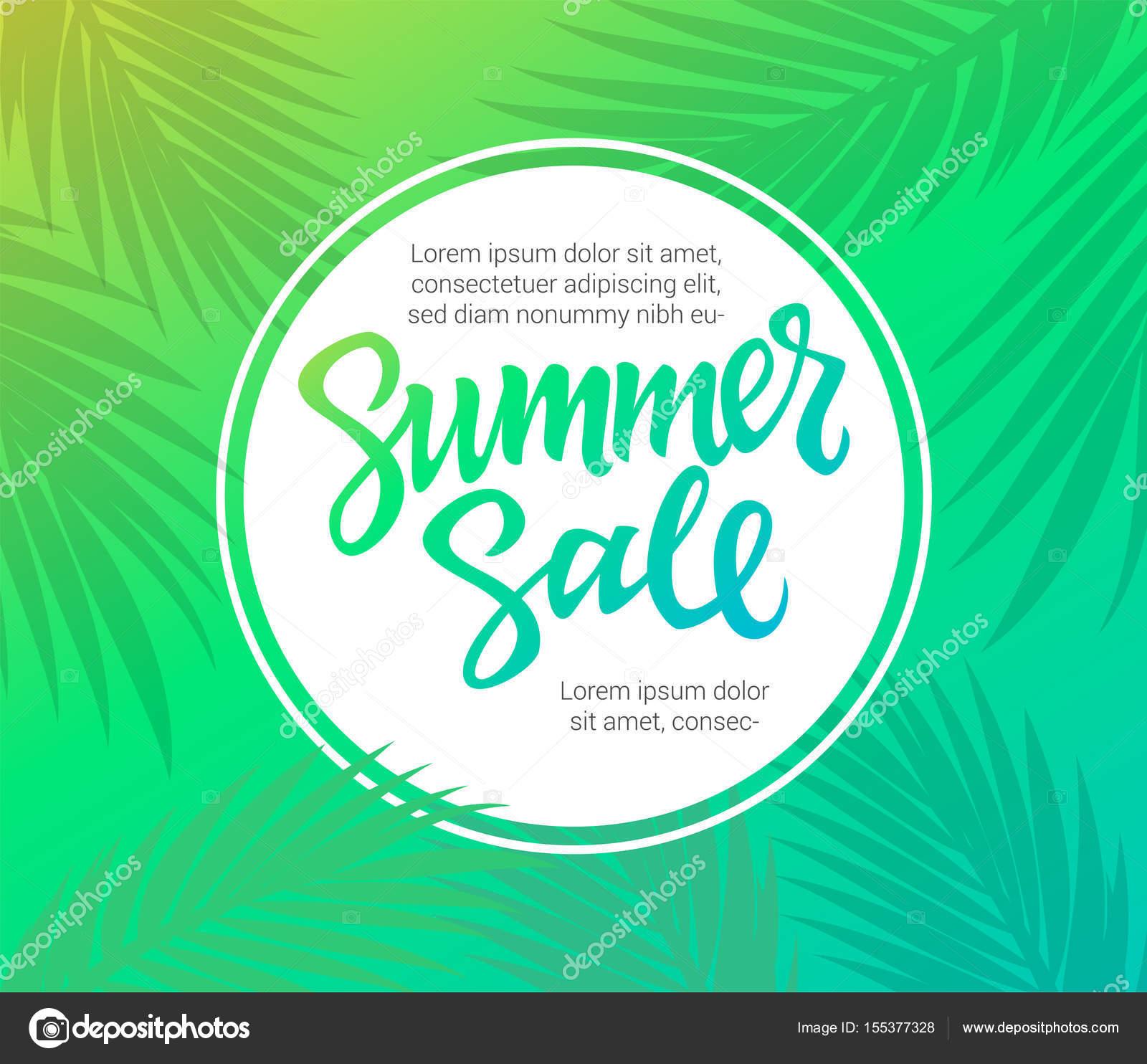 Venta de verano - plantilla de folleto de vector con el deletreado ...